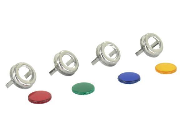 10031210 Kontrollleuchtensatz komplett (4 x Zierring Edelstahl, 4 x Farbglas) - für IWL SR59 Berlin - Bild 1