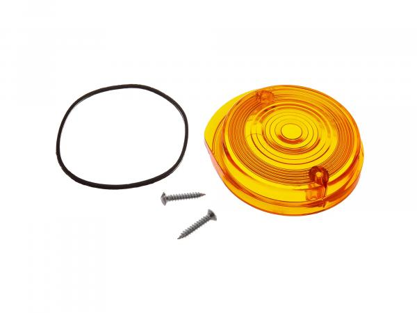 Blinkerkappe vorn, rund, orange inkl. Gummidichtring + Schrauben - Simson S50, S51, S70, SR50, SR80 - MZ ETZ, TS