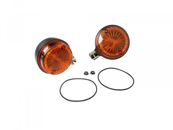 Set: 2 rear indicators, round in black with orange glass - Simson S50, S51, S70, SR50, SR80, MZ ETZ, TS