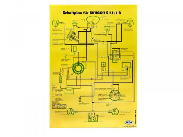 Circuit diagram color poster (40x60cm) Simson S51/1B 12V