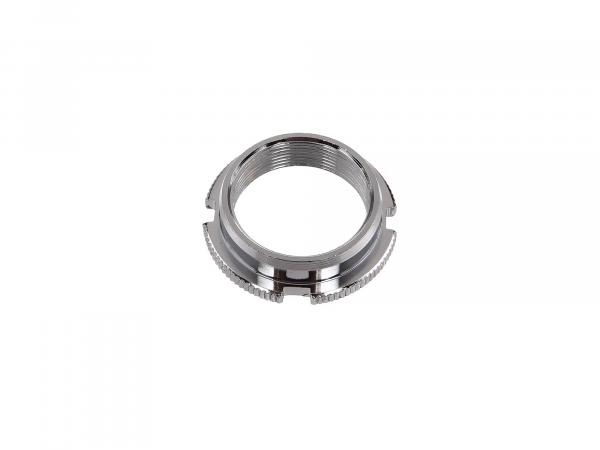 Counter nut steering bearing, chrome plated with 4 grooves + knurled - Simson SR1, SR2, KR50, KR51 Schwalbe, SR4-1 Spatz, SR4-2 Star, SR4-3 Sperber, SR4-4 Hab