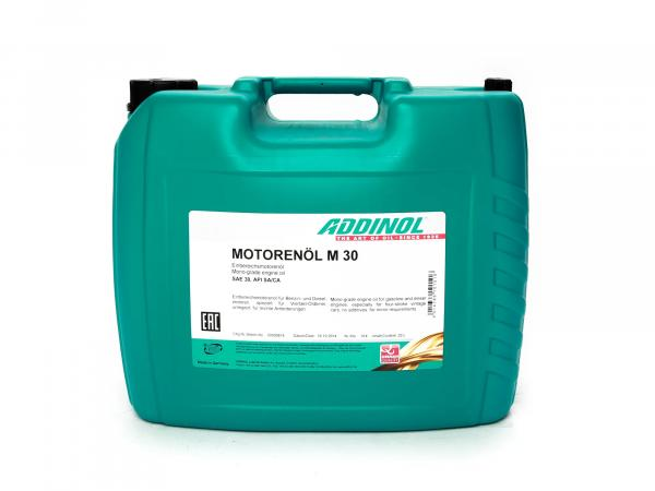 ADDINOL M30 OLDTIMER - MOTOR OIL (SAE Class 30 // Viscosity 11.0) mineral, 20 L canister