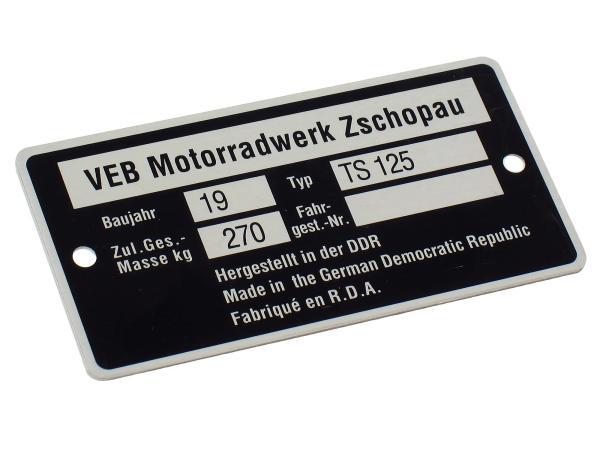 Nameplate TS125 (aluminium frame badge)***