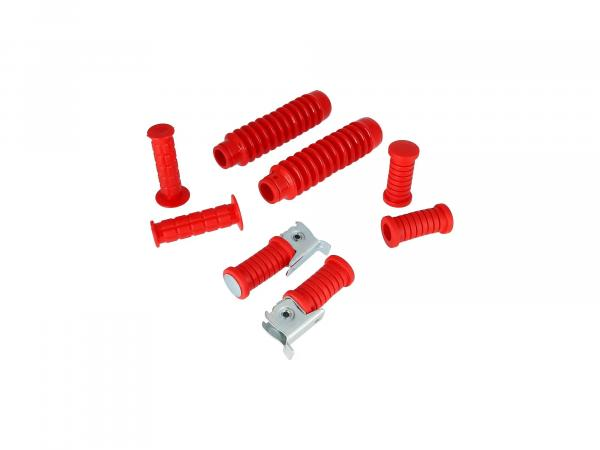 Set: handlebar grips + footrests + bellows in red - for Simson S50, S51, S70, S53, S83
