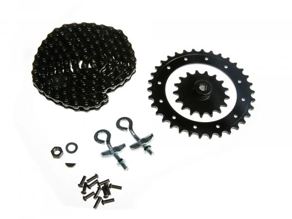 Set of drive parts KR50 (riveted drive ring, chain tensioner Ø10, chain, sprocket 17 tooth etc.)