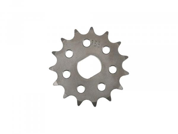 sprocket RESO, small sprocket, tuning 15 teeth - for Simson S51, S70, S53, S83, KR51/2 Schwalbe, SR50, SR80