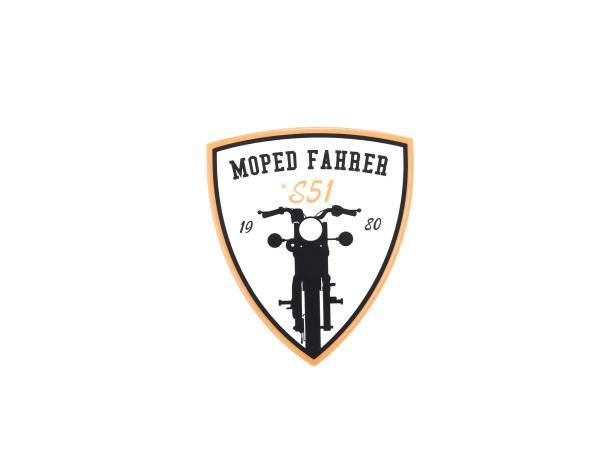 """Aufkleber - """"Moped Fahrer #S51"""" Gelb/Weiß/Schwarz, Wappen"""