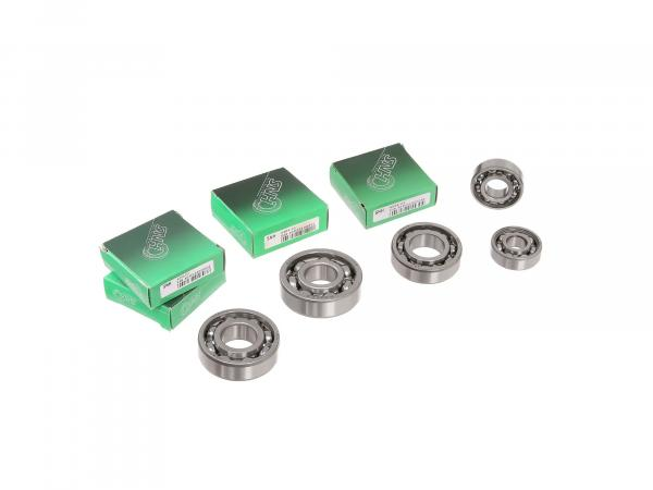 Set: ball bearing motor + gearbox, from 1977, 6 pieces - for MZ TS 125, 150