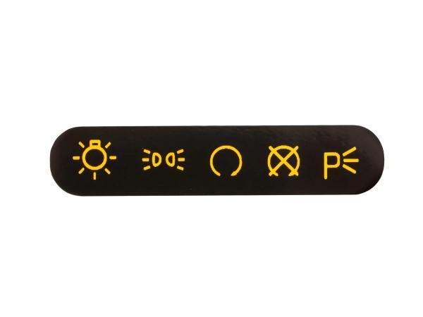 Schriftzug (Folie) gelb/schwarz, Symbole für Armaturenträger/Zündschalter - für MZ ETZ