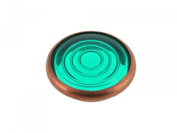 control glass, green, copper socket, Ø16mm - for Simson KR51/1 Schwalbe, SR4-2 Star, SR4-3 Sperber, SR4-4 Habicht, AWO, MZ RT, BK350, EMWR35