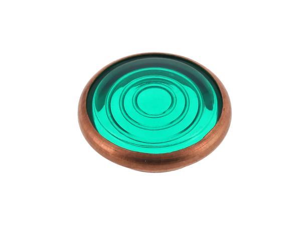 Kontrollglas, Grün, Kupfer-Fassung, Ø16mm - für Simson KR51/1 Schwalbe, SR4-2 Star, SR4-3 Sperber, SR4-4 Habicht, AWO, MZ RT, BK350, EMWR35