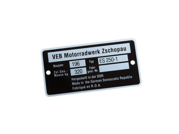 Typenschild ES250-1 schmal (Rahmenplakette aus Alu)***