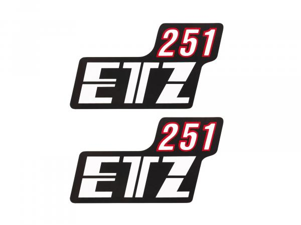 """Set: 2x Schriftzug (Folie) """"ETZ 251"""" schwarz/weiß/rot für Seitendeckel - für MZ ETZ251"""