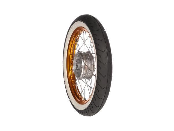 """10066192 Komplettrad hinten 1,5x16"""" Alufelge orange + Edelstahlspeichen + Weißwandreifen Mitas MC2 - Bild 1"""