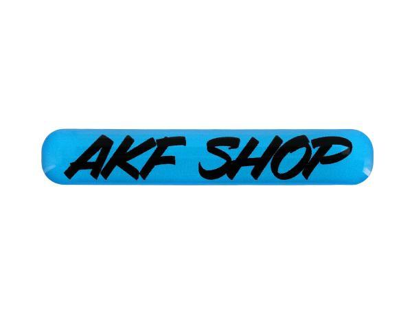 "10070614 Gelaufkleber - ""AKF Shop"" blau/schwarz - Bild 1"