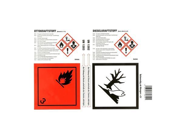 10069401 Aufkleber - Haftetiketten für Gefahrgutkennzeichnung, Otto-/Dieselkraftstoff - Bild 1