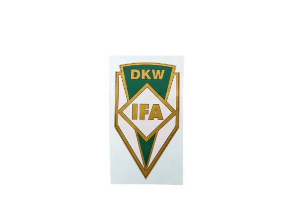 Aufkleber DKW + IFA, grün/weiss/gold, für Tank RT125