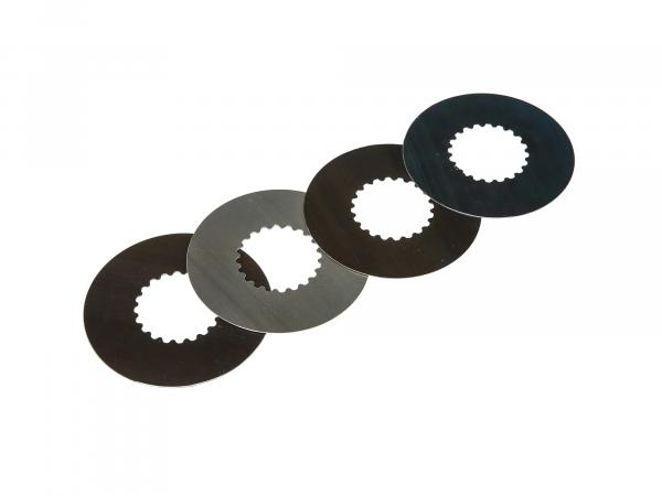 Set: Clutch plate (4 pieces) - Clutch plate (steel plates) - Thickness 0,6 mm - Simson Motor M531 - M743