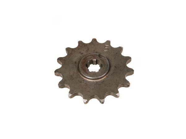 10000475 Ritzel, kleines Kettenrad, 15 Zahn - für Simson S50, KR51/1 Schwalbe, SR4-2 Star, SR4-3 Sperber, SR4-4 Habicht - Bild 1