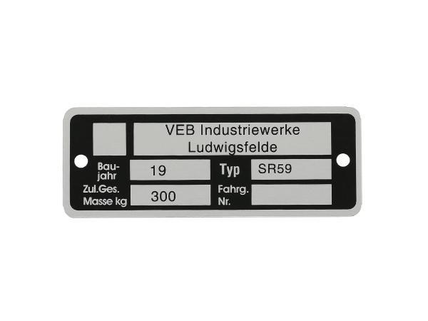 10055041 Typenschild (Aluminium) - für SR59 Berliner Roller - Bild 1