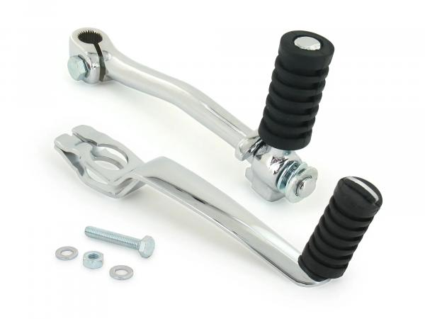 Set: Enduro kick starter + foot pedal - chrome plated - Simson engine types 500 and 700 - S51E, S53E, S70E, S83E