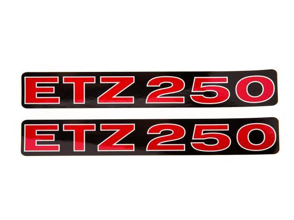 """Set: 2x Schriftzug (Folie) """"ETZ 250"""" schwarz/rot/weiß für Seitendeckel - für MZ ETZ250"""