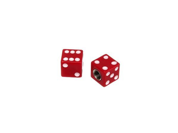 Set: 2x valve cap cube, red