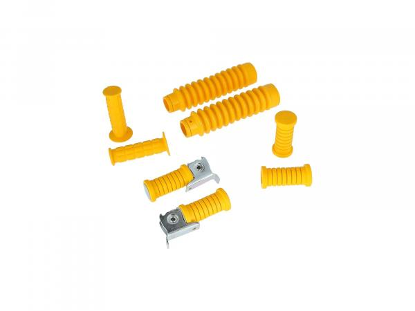 Set: handlebar grips + footrests + bellows in yellow - for Simson S50, S51, S70, S53, S83