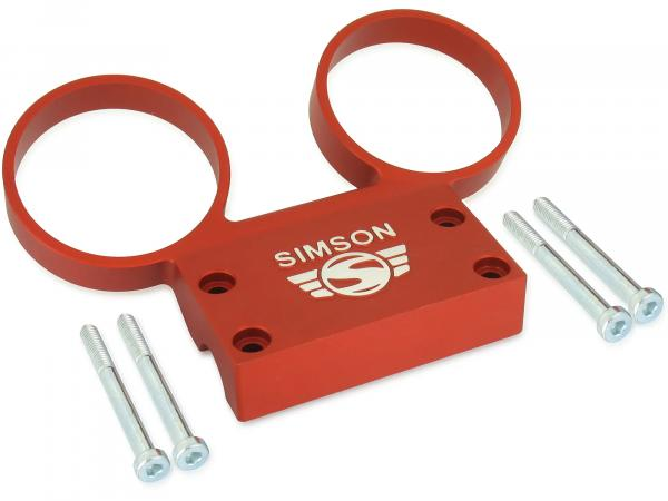 SET Fitting carrier- with mounting parts - for round instruments ø 60 mm speedometer + DZM - aluminium orange - SIMSON logo raised - S50, S51, S53, S70, S83