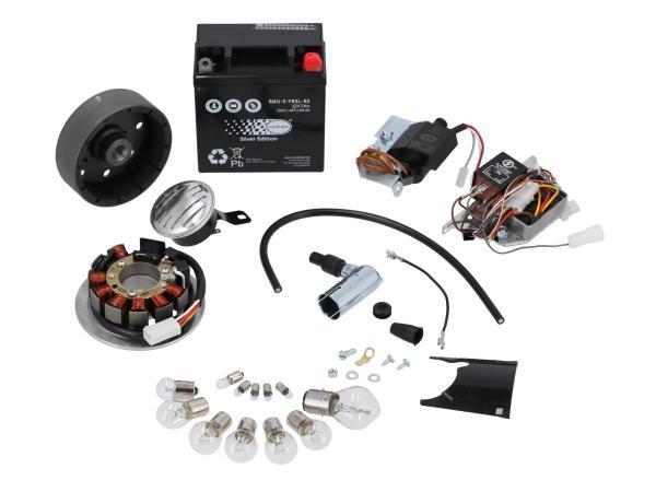 Set: Umrüstsatz VAPE auf 12V, Magnete vergossen (mit Batterie, Hupe und Kugellampen) - Simson S50, S51, S70