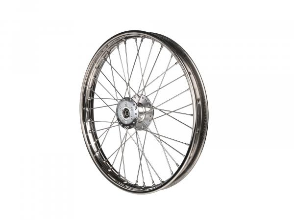 "Spoked wheel 1,6 x 19"" for disc brake, stainless steel rim + stainless steel spokes - Simson S53, S83"