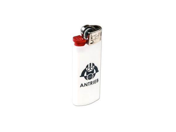 "BIC lighter white, ""ANTRIEB"" - with chrome cap"