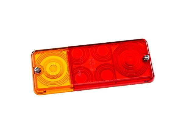 Ersatzglas für Dreikammerleuchte eckig (für DDR-Fahrzeuge)
