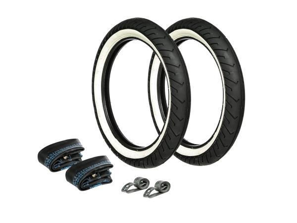 Set: 2x Reifen Weißwand MITAS 2.75 x 16 + 2x Schläuche + 2x Felgenband