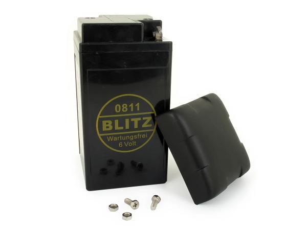 Batterie 6V 12Ah BLITZ (Gel - wartungsfrei) mit Deckel - Simson AWO, MZ, EMW