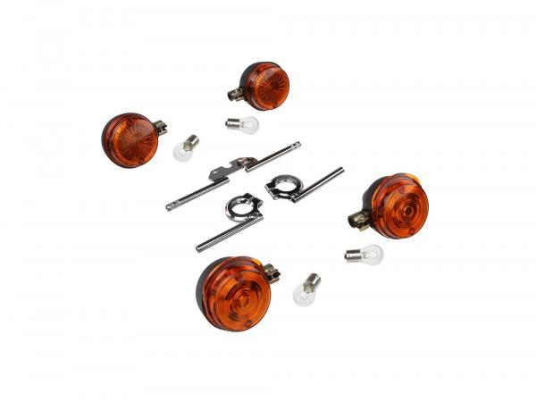 Set: 4 turn signals round complete, + 12V lamps and turn signal carrier chrome - for Simson S50, S51, S70