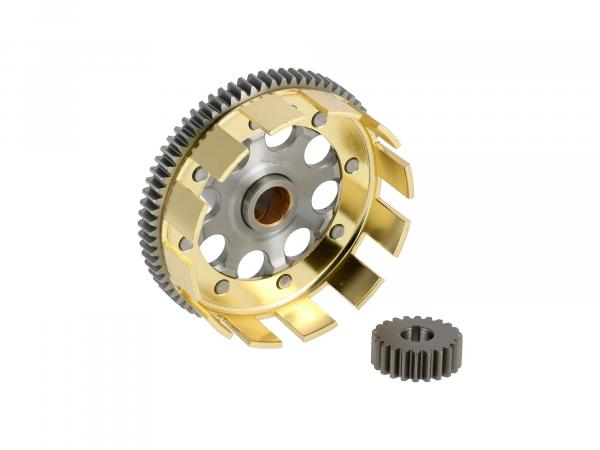 Set: Sports clutch basket + drive pinion, straight tooth, 72/22 tooth - Simson S51, S53, SR50, KR51/2 Schwalbe