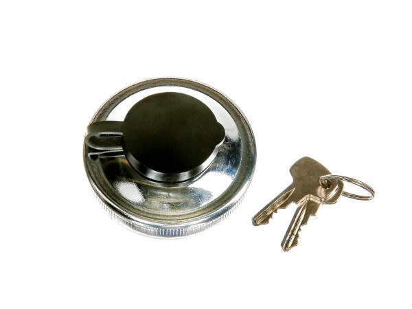 Tank cap with lock Ø40mm, aluminium in chrome look - for Simson S50, S51, SR50, SR80, KR51 Schwalbe, SR4 Vogelserie - IWL