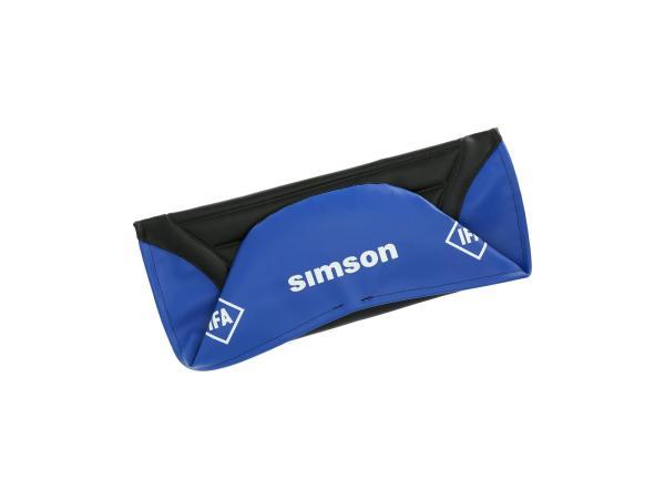 Sitzbezug strukturiert, schwarz/blau für Endurositzbank mit SIMSON-Schriftzug - Simson S50, S51, S70 Enduro