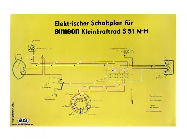Circuit diagram color poster (69x49cm) Simson S51 N-H