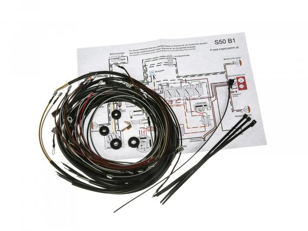 Cable harness set S50 B1, 6V interrupter ignition with wiring diagram