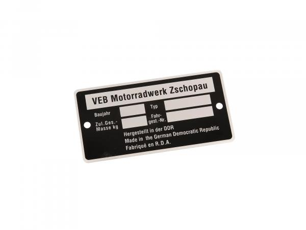 Nameplate suitable for MZ (neutral without entry1) (Aluminium)***