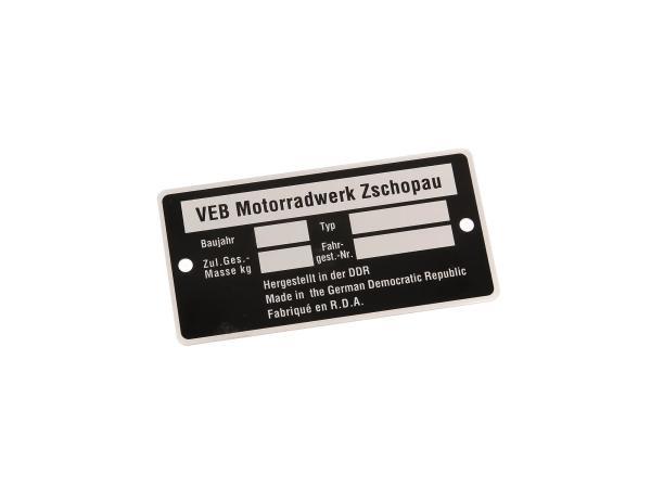 Typenschild passend für MZ (neutral ohne Eintrag1) (Aluminium)***