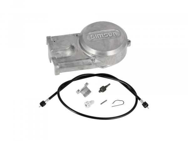 Set: generator cover + speedometer drive set + speedometer shaft - for Simson S51, S70, S53, S83