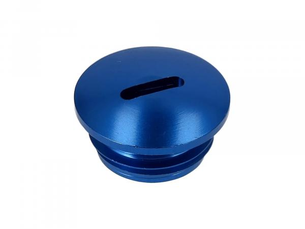 Screw plug, aluminium blue anodised (coupling adjustment), without O-ring
