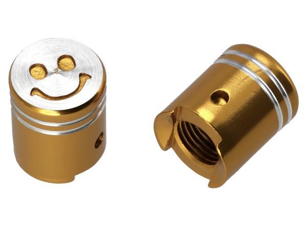 Set: 2x valve cap piston, gold anodized