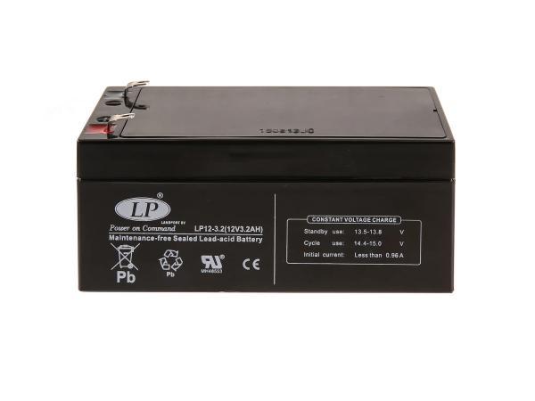 Batterie 12V 3,2Ah LANDPORT (Vlies - wartungsfrei) für Umbausatz - für Simson AWO 425, MZ RT