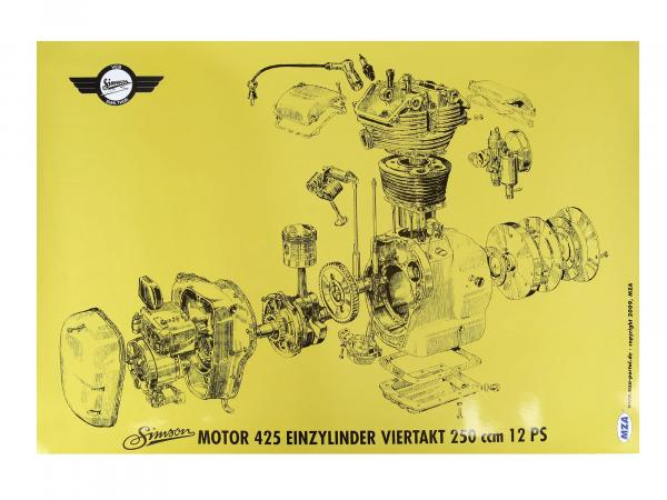 Exploded view colour poster (72 x 50cm) Simson AWO 425 engine 425 single cylinder four stroke 250ccm 12 HP