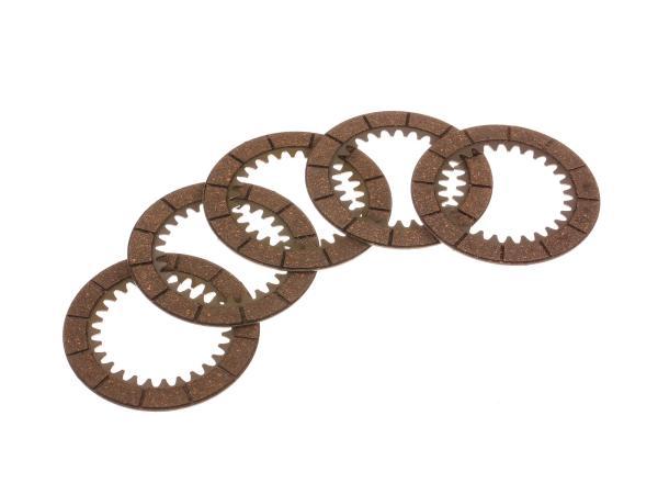 Set: 5x Innenlamelle (Kupplungsreibbelag) - MZ ETZ250, ETZ251, ETZ301, TS250, ES175, ES250
