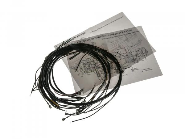 Cable harness set, basic equipment with wiring diagram - for Simson KR51 Schwalbe, SR4-2 Star, SR4-3 Sperber, SR4-4 Habicht